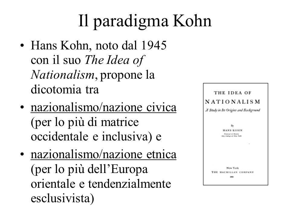 Il paradigma Kohn Hans Kohn, noto dal 1945 con il suo The Idea of Nationalism, propone la dicotomia tra.