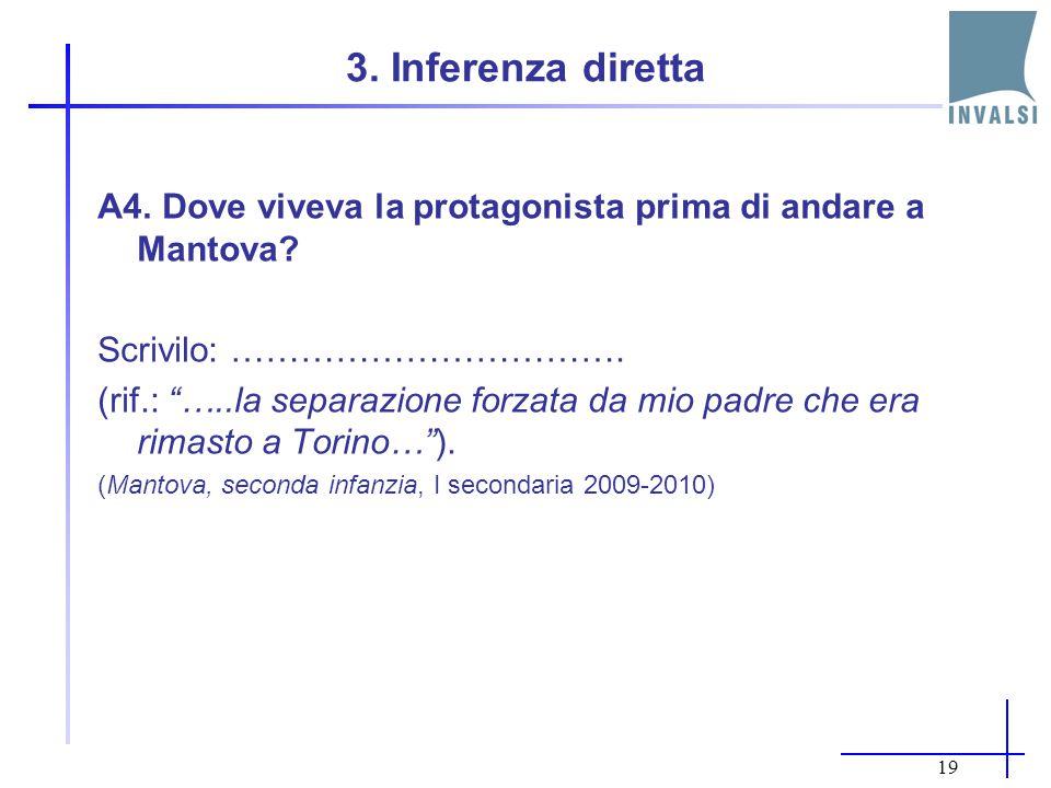 3. Inferenza diretta A4. Dove viveva la protagonista prima di andare a Mantova Scrivilo: …………………………….