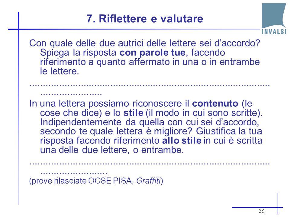 7. Riflettere e valutare