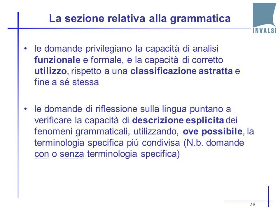 La sezione relativa alla grammatica