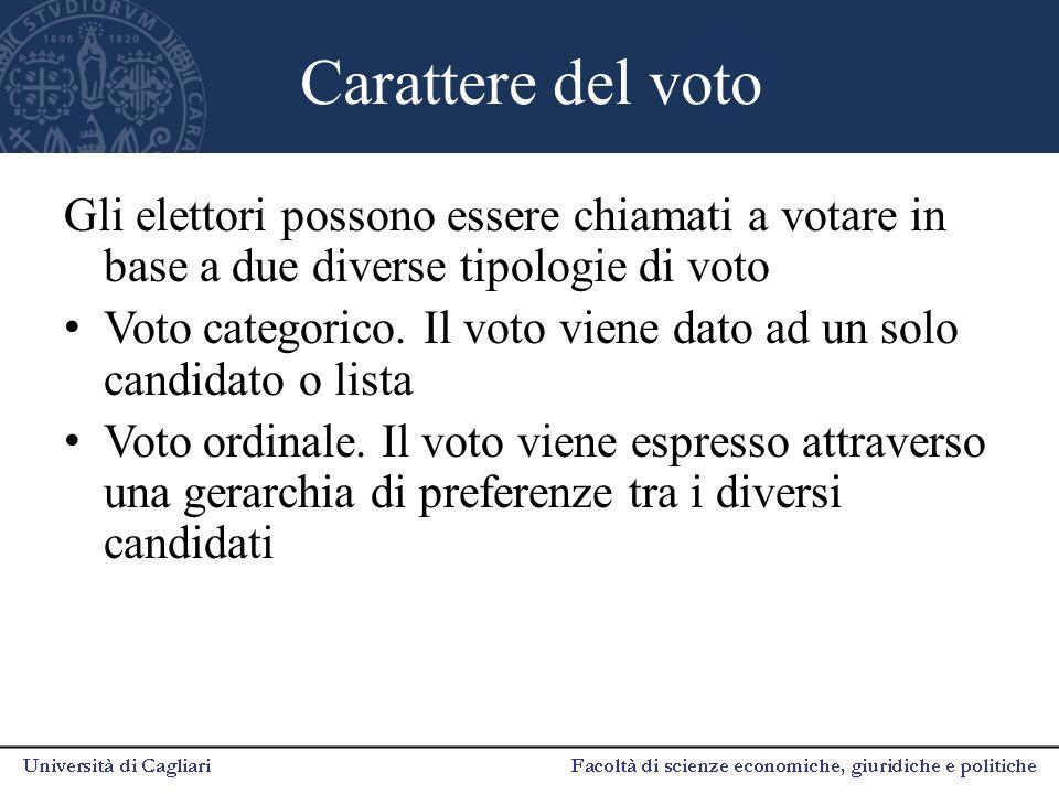 Carattere del voto Gli elettori possono essere chiamati a votare in base a due diverse tipologie di voto.
