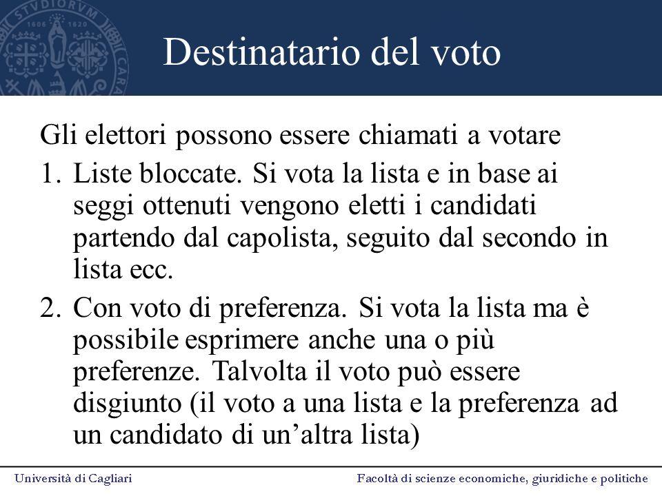 Destinatario del voto Gli elettori possono essere chiamati a votare