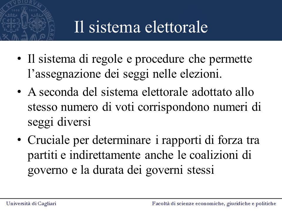 Il sistema elettorale Il sistema di regole e procedure che permette l'assegnazione dei seggi nelle elezioni.