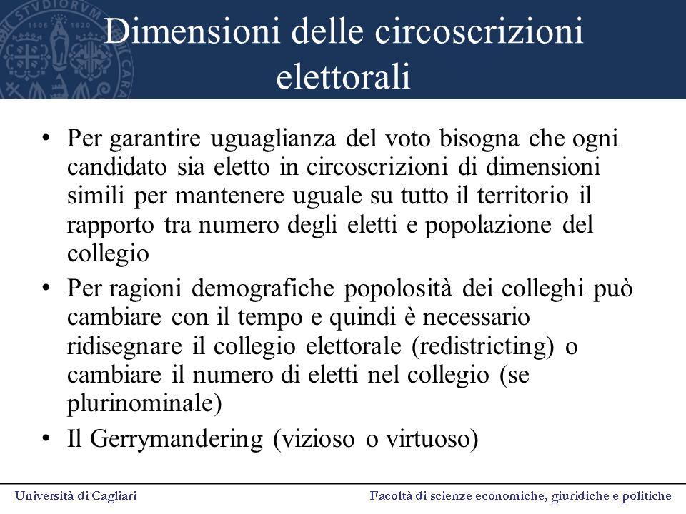 Dimensioni delle circoscrizioni elettorali