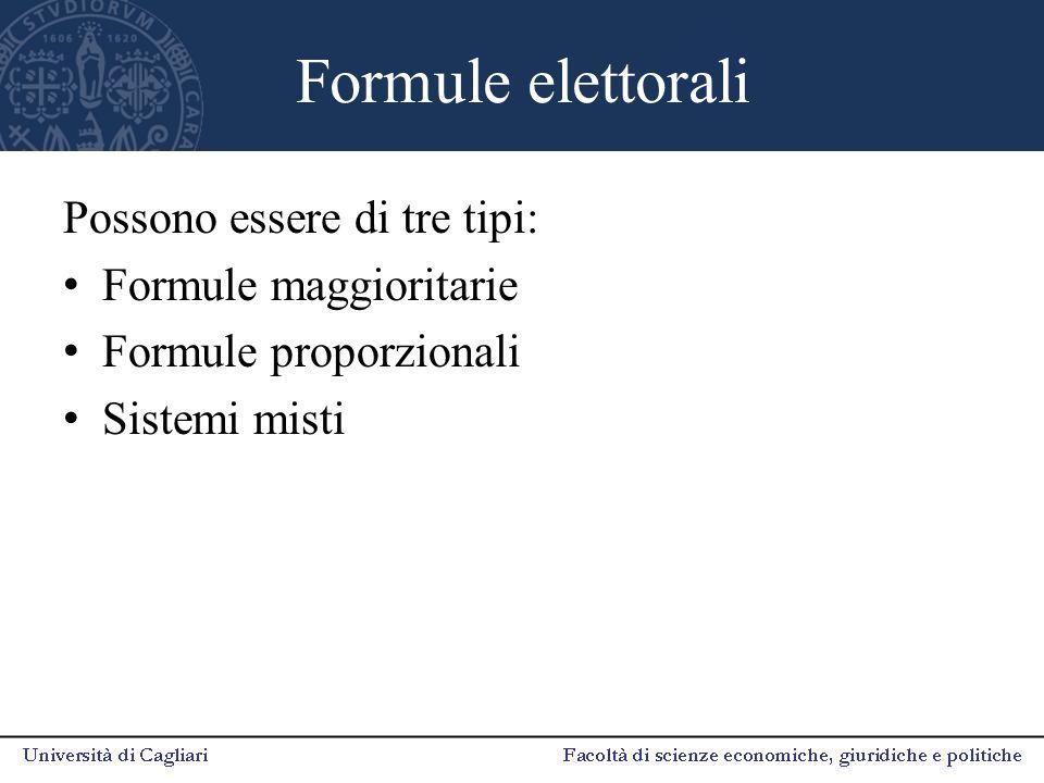 Formule elettorali Possono essere di tre tipi: Formule maggioritarie