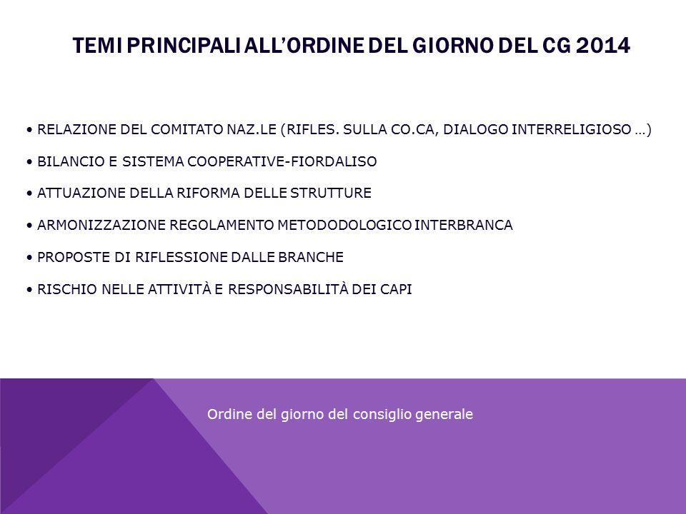 TEMI PRINCIPALI ALL'ORDINE DEL GIORNO DEL CG 2014