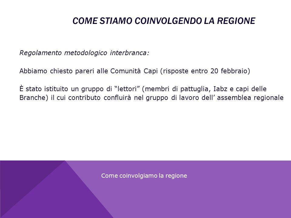 COME STIAMO COINVOLGENDO LA REGIONE