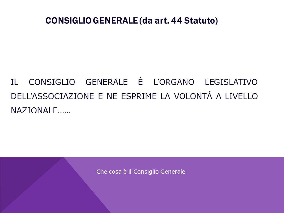 CONSIGLIO GENERALE (da art. 44 Statuto)