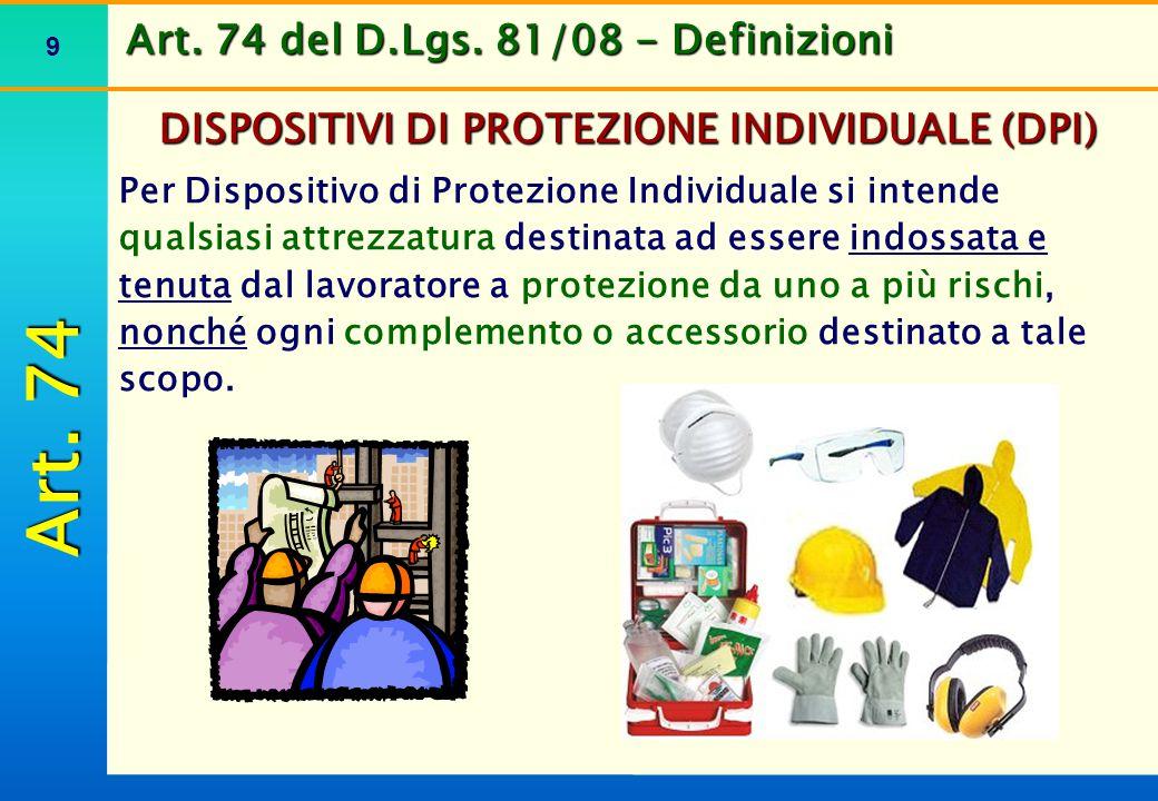 Art. 74 del D.Lgs. 81/08 - Definizioni