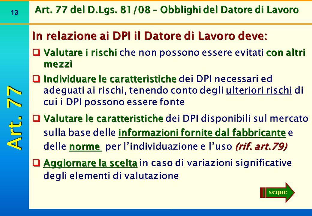 Art. 77 del D.Lgs. 81/08 – Obblighi del Datore di Lavoro