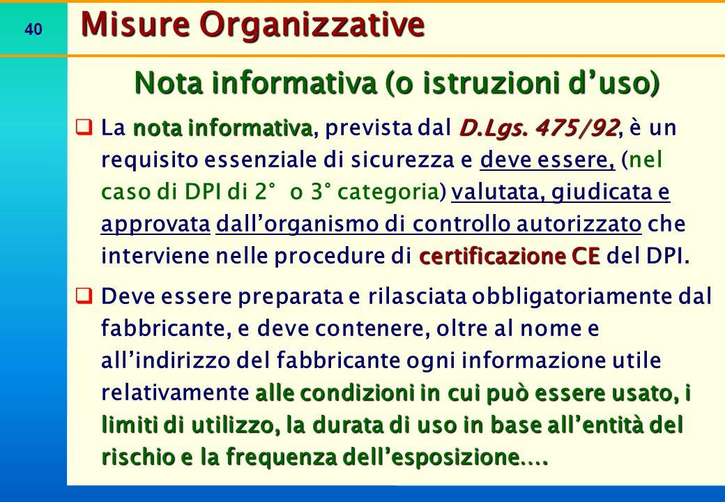 Misure Organizzative Il Fabbricante