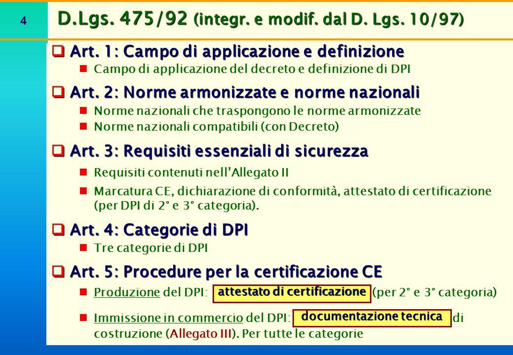 D.Lgs. 475/92 (integr. e modif. dal D. Lgs. 10/97)