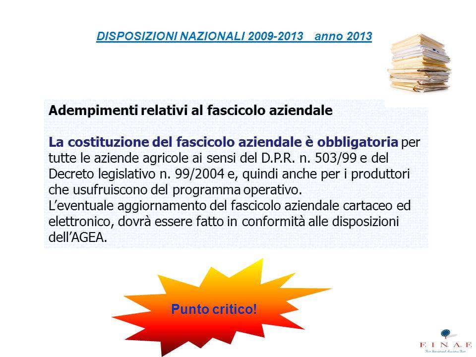 DISPOSIZIONI NAZIONALI 2009-2013 anno 2013