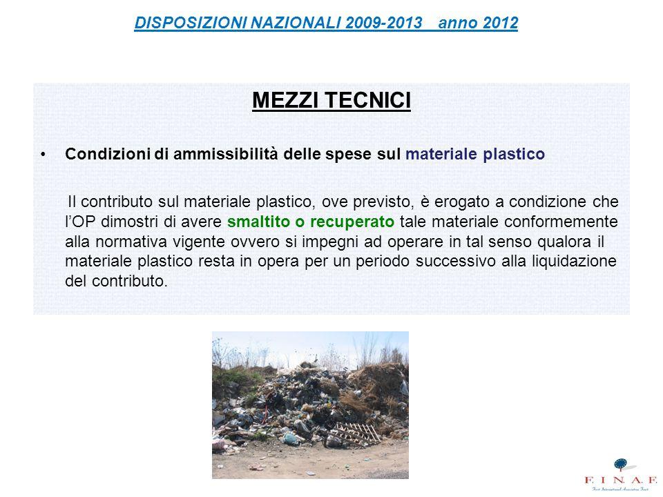 DISPOSIZIONI NAZIONALI 2009-2013 anno 2012
