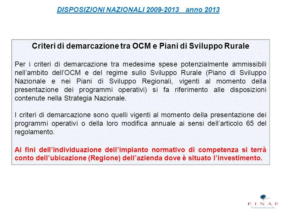 Criteri di demarcazione tra OCM e Piani di Sviluppo Rurale