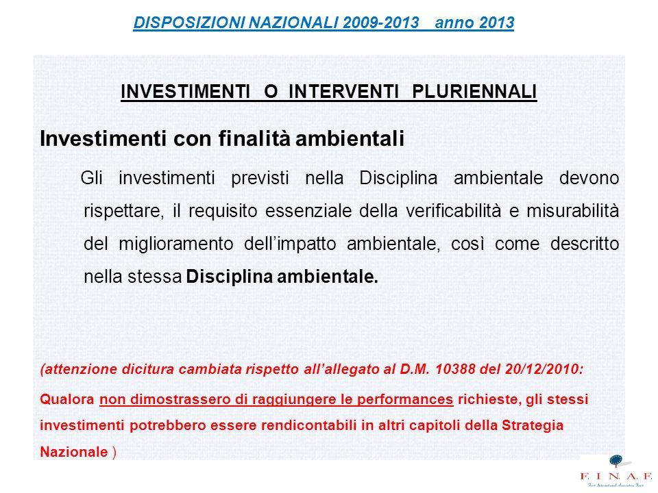 Investimenti con finalità ambientali