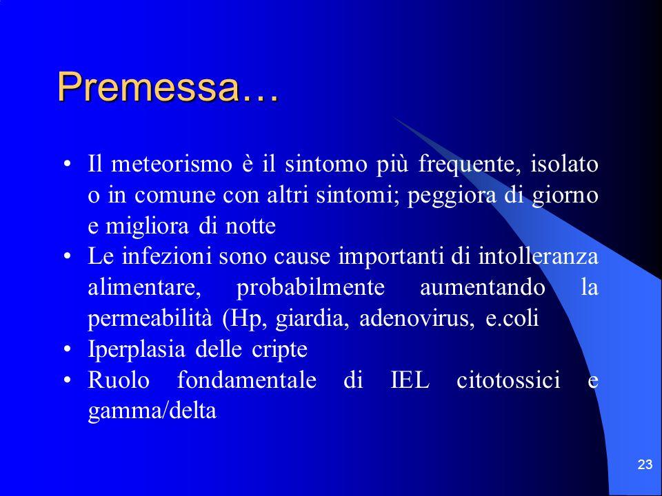 Premessa… Il meteorismo è il sintomo più frequente, isolato o in comune con altri sintomi; peggiora di giorno e migliora di notte.
