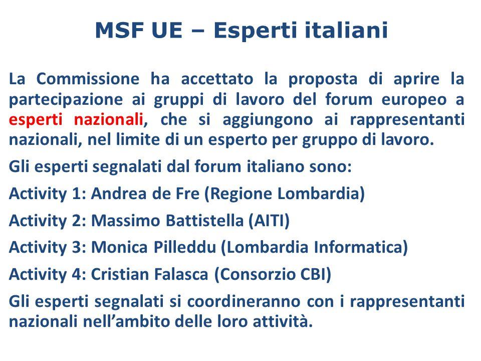 MSF UE – Esperti italiani