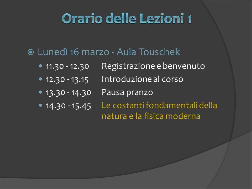 Orario delle Lezioni 1 Lunedì 16 marzo - Aula Touschek