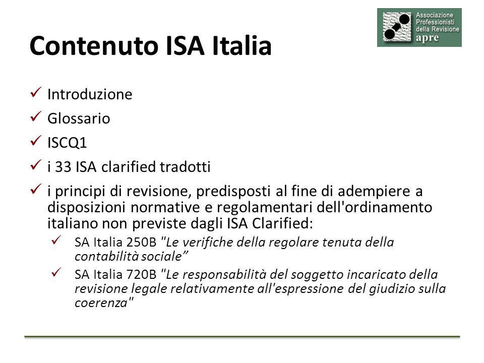 Contenuto ISA Italia Introduzione Glossario ISCQ1