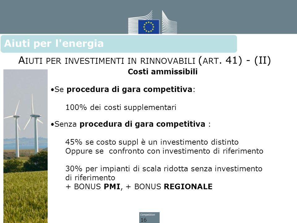 Aiuti per investimenti in rinnovabili (art. 41) - (II)