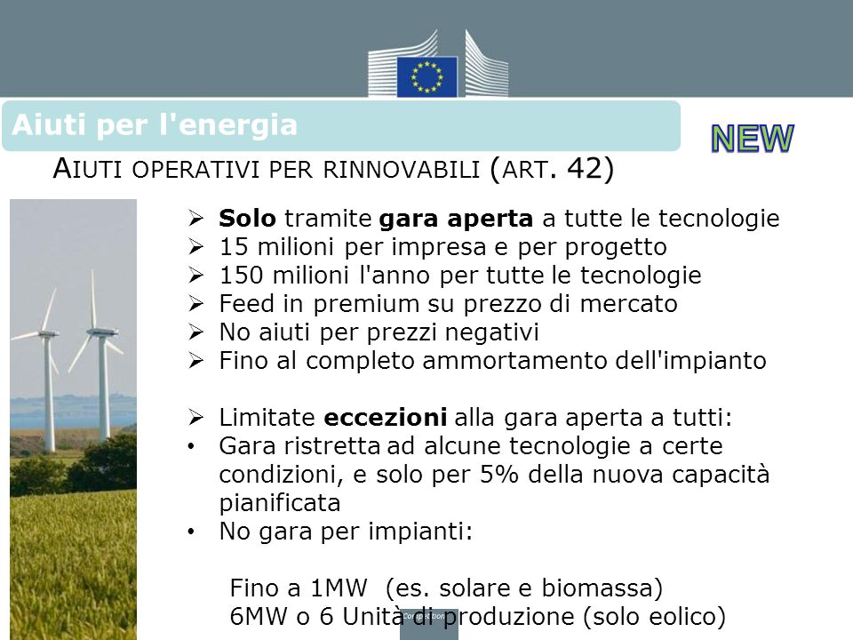 Aiuti per l energia Aiuti operativi per rinnovabili (art. 42)
