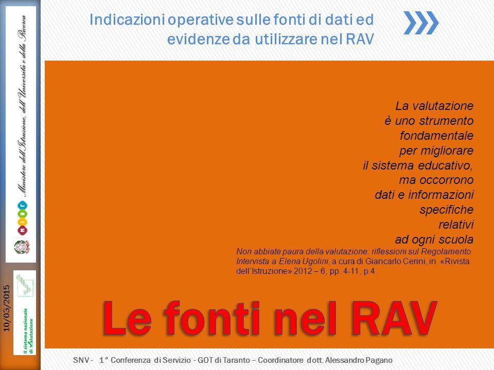 Indicazioni operative sulle fonti di dati ed evidenze da utilizzare nel RAV