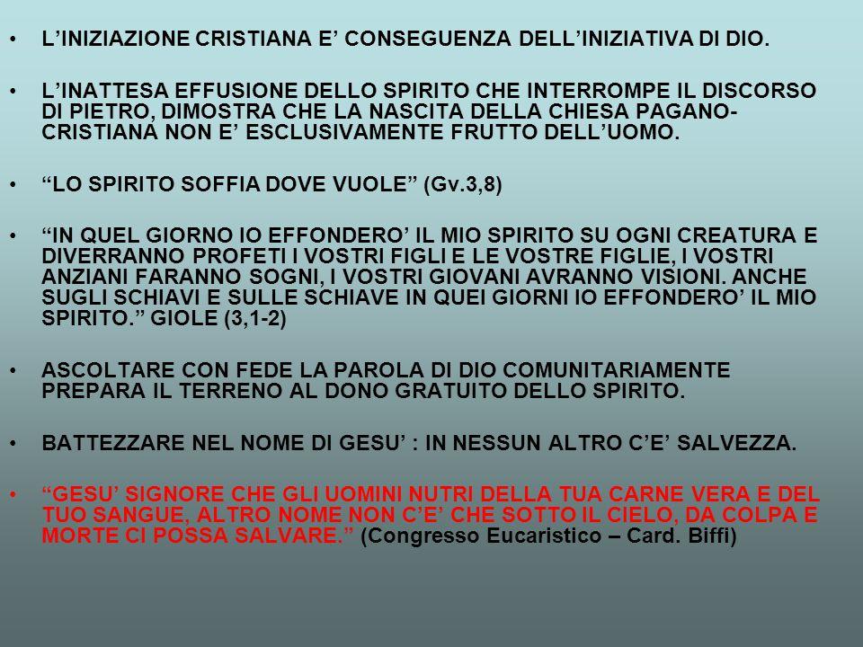 L'INIZIAZIONE CRISTIANA E' CONSEGUENZA DELL'INIZIATIVA DI DIO.