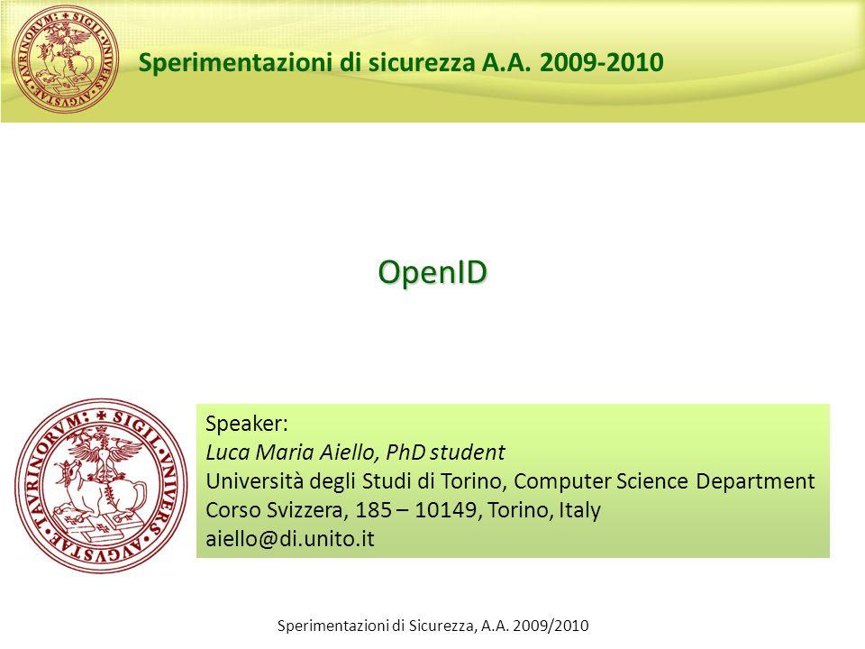 Sperimentazioni di Sicurezza, A.A. 2009/2010
