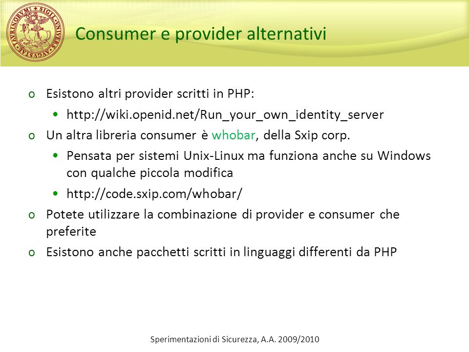 Consumer e provider alternativi