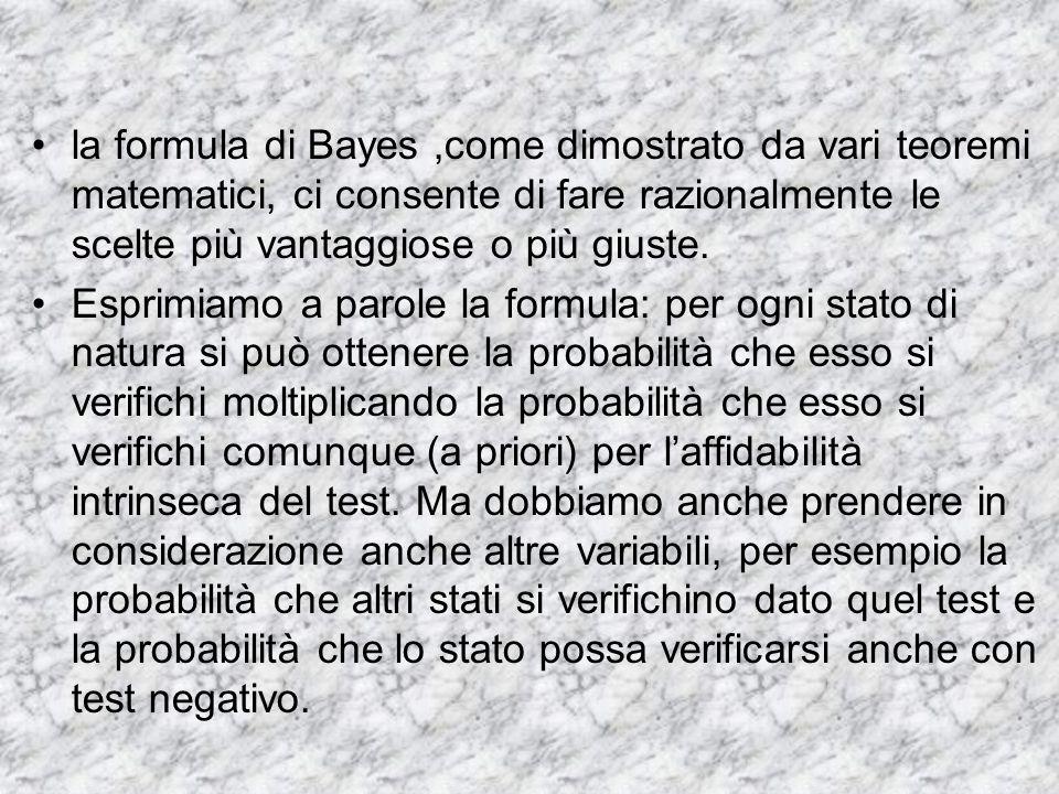 la formula di Bayes ,come dimostrato da vari teoremi matematici, ci consente di fare razionalmente le scelte più vantaggiose o più giuste.