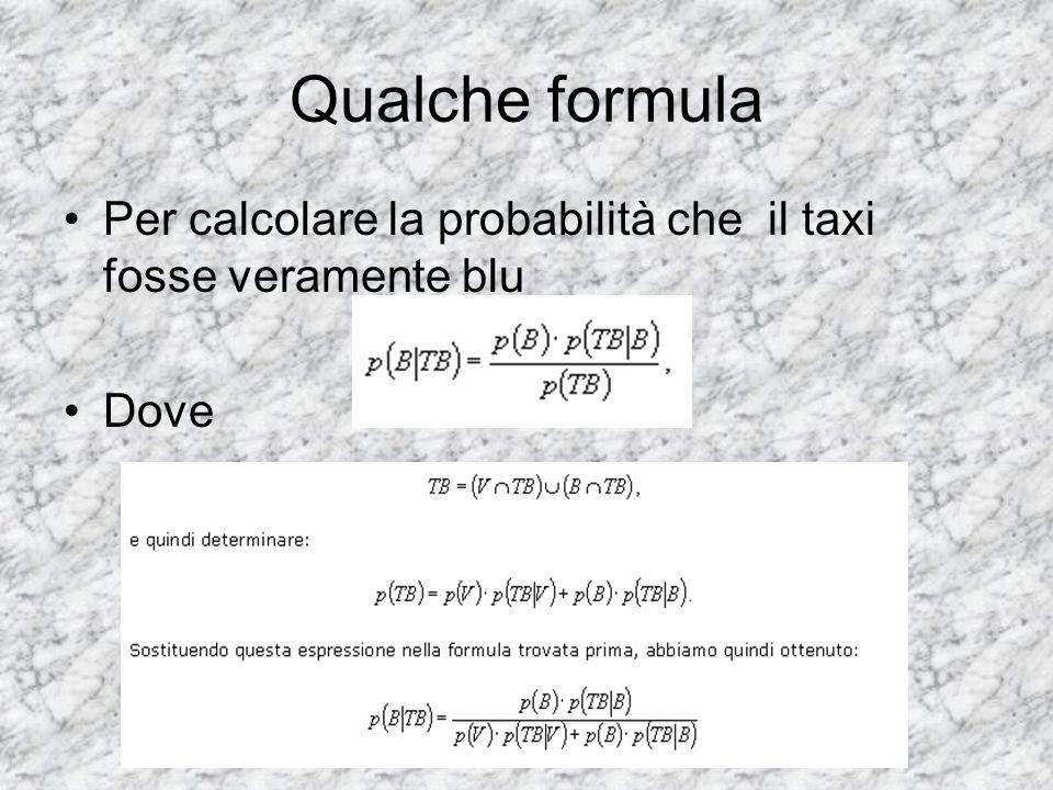 Qualche formula Per calcolare la probabilità che il taxi fosse veramente blu Dove