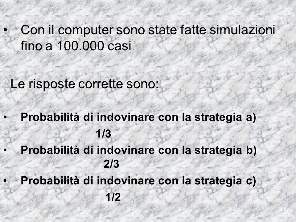 Con il computer sono state fatte simulazioni fino a 100.000 casi