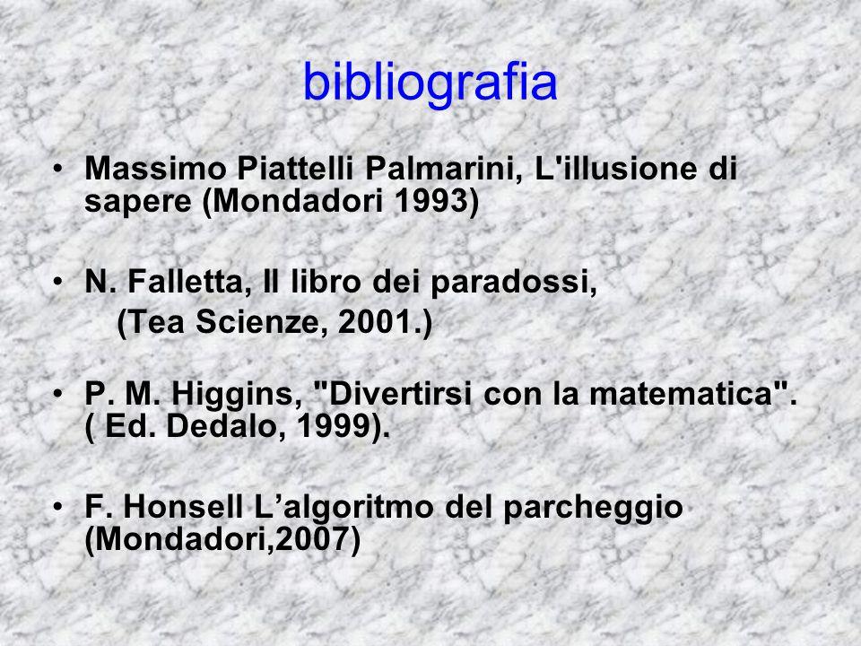 bibliografia Massimo Piattelli Palmarini, L illusione di sapere (Mondadori 1993) N. Falletta, Il libro dei paradossi,