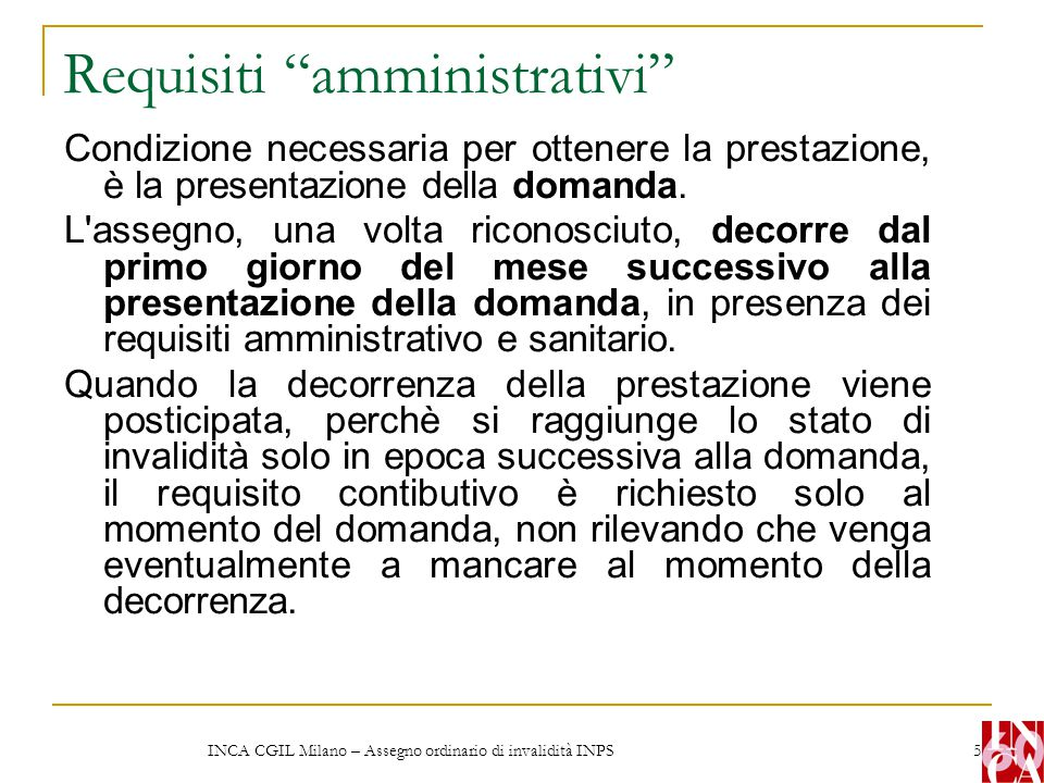 Requisiti amministrativi