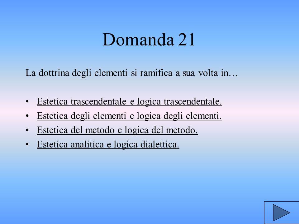 Domanda 21 La dottrina degli elementi si ramifica a sua volta in…