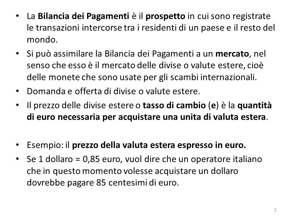 La Bilancia dei Pagamenti è il prospetto in cui sono registrate le transazioni intercorse tra i residenti di un paese e il resto del mondo.