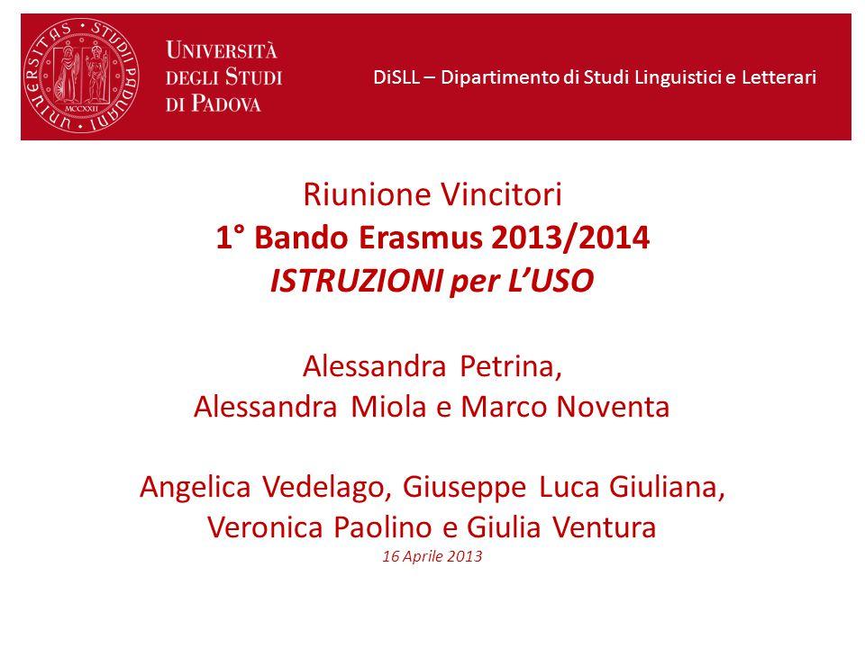 Dipartimento di Studi Linguistici e Letterari - LLP/Erasmus
