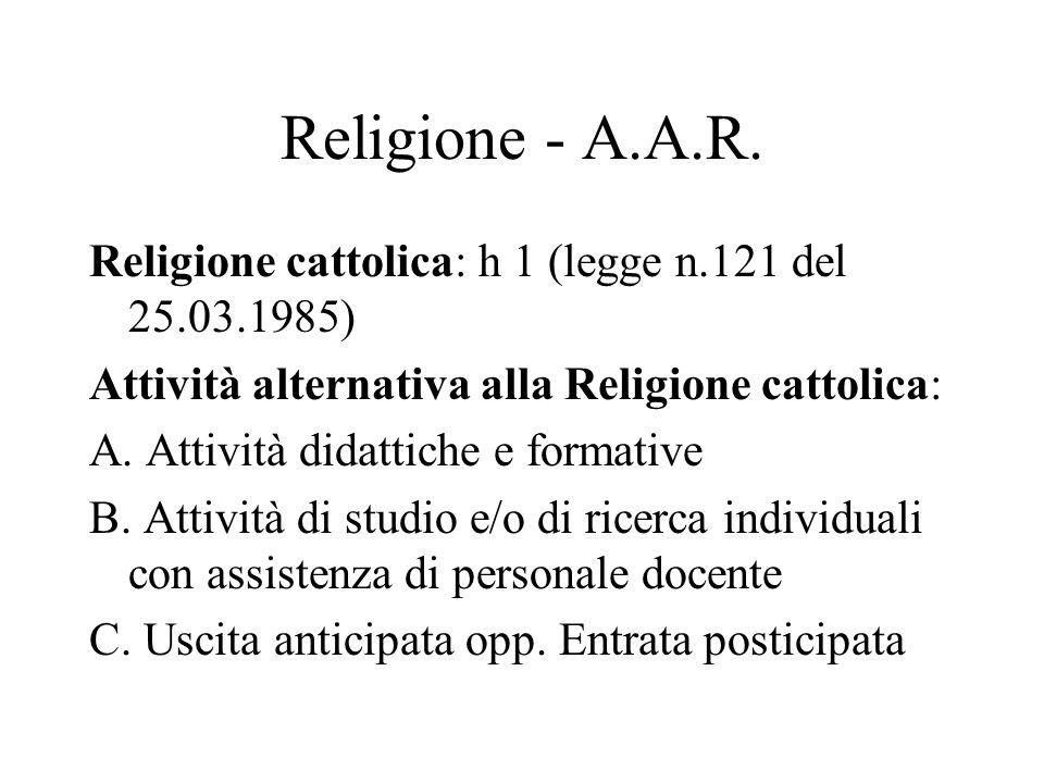 Religione - A.A.R. Religione cattolica: h 1 (legge n.121 del 25.03.1985) Attività alternativa alla Religione cattolica: