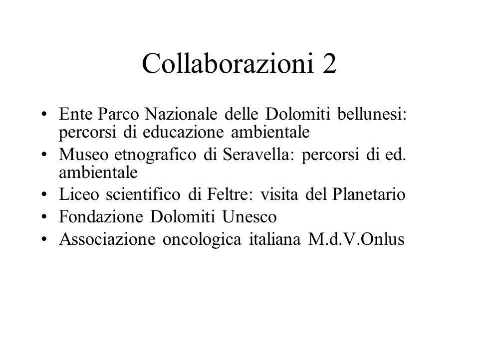 Collaborazioni 2 Ente Parco Nazionale delle Dolomiti bellunesi: percorsi di educazione ambientale.