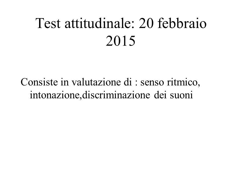 Test attitudinale: 20 febbraio 2015