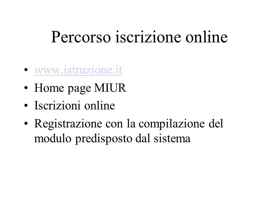 Percorso iscrizione online