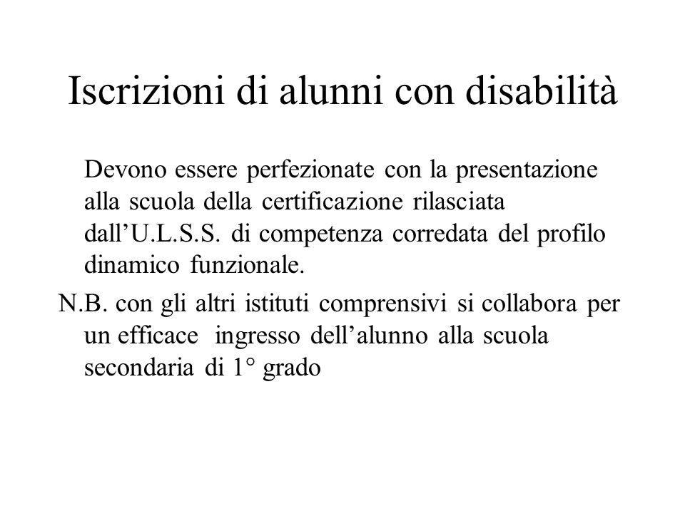 Iscrizioni di alunni con disabilità