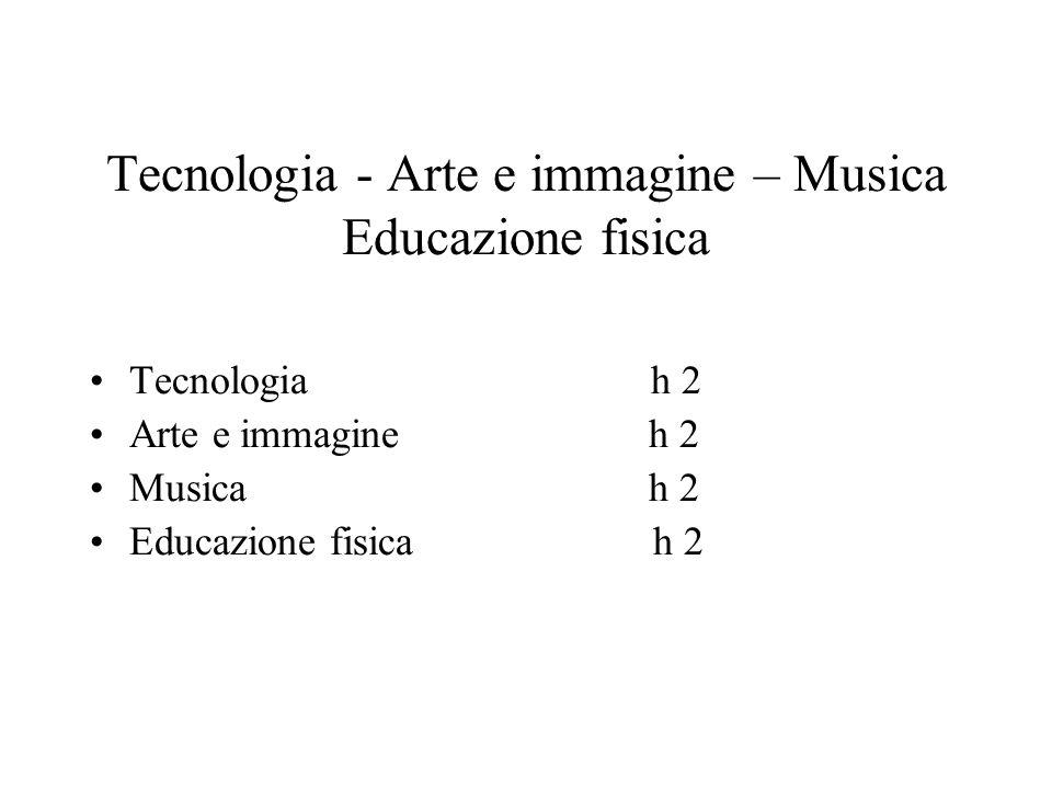 Tecnologia - Arte e immagine – Musica Educazione fisica