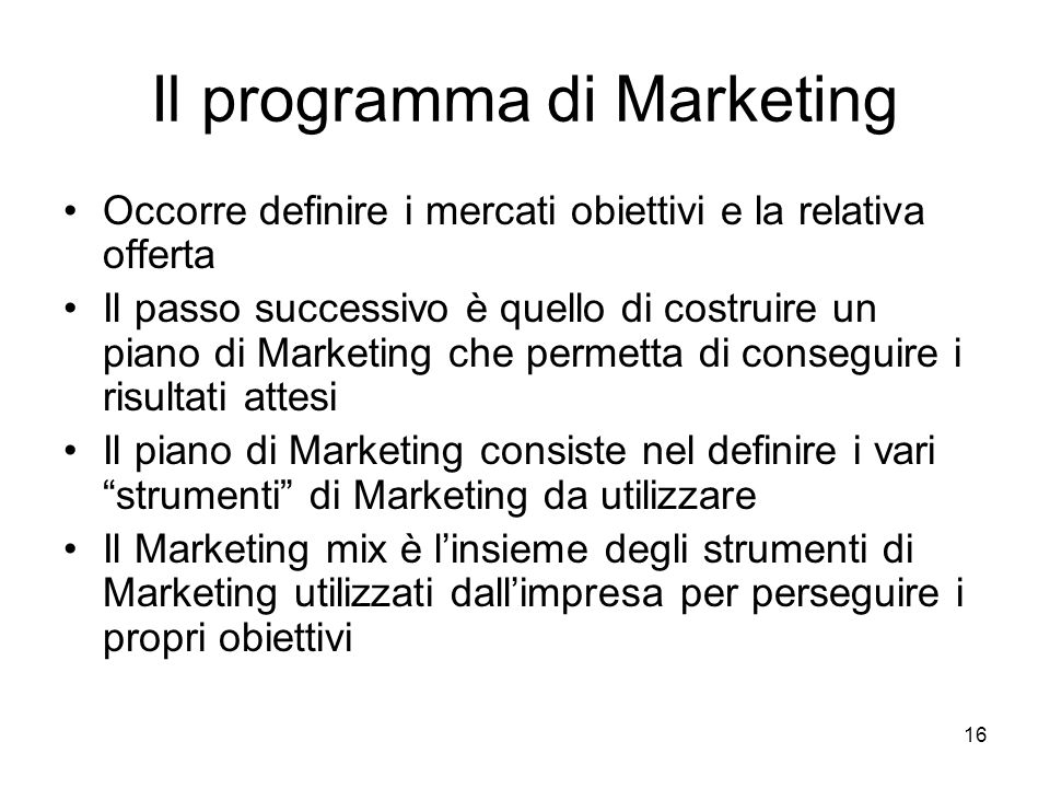 Il programma di Marketing