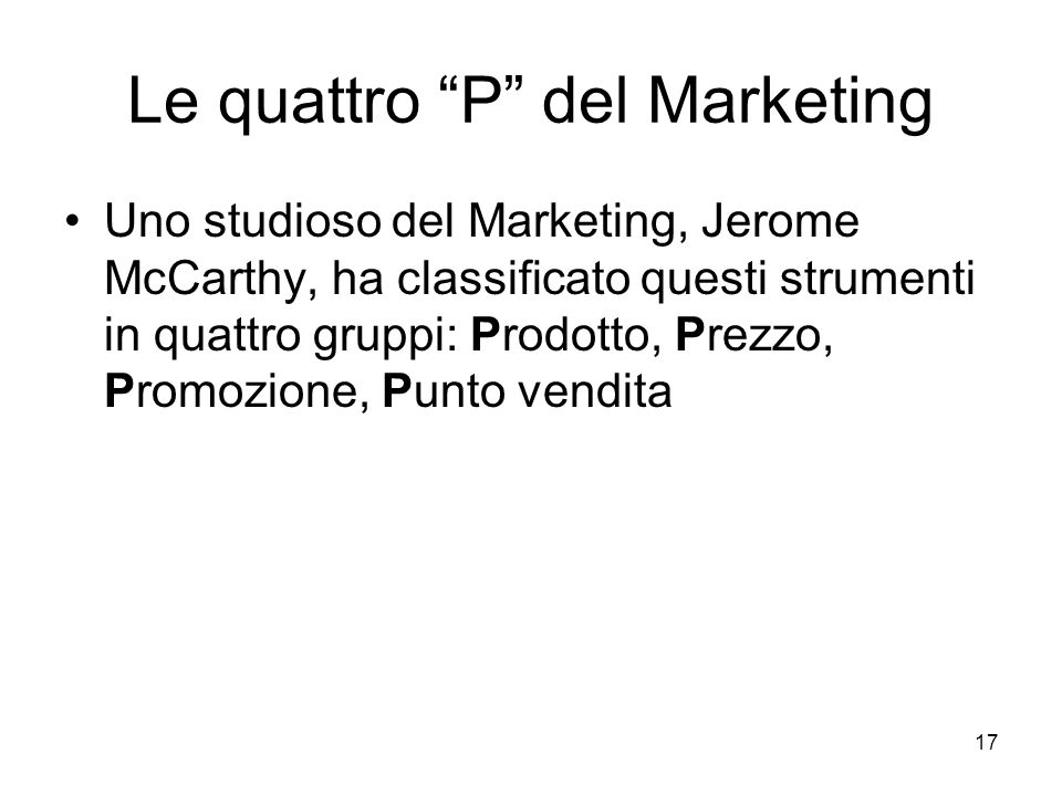 Le quattro P del Marketing