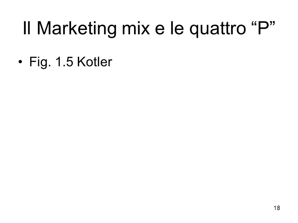 Il Marketing mix e le quattro P