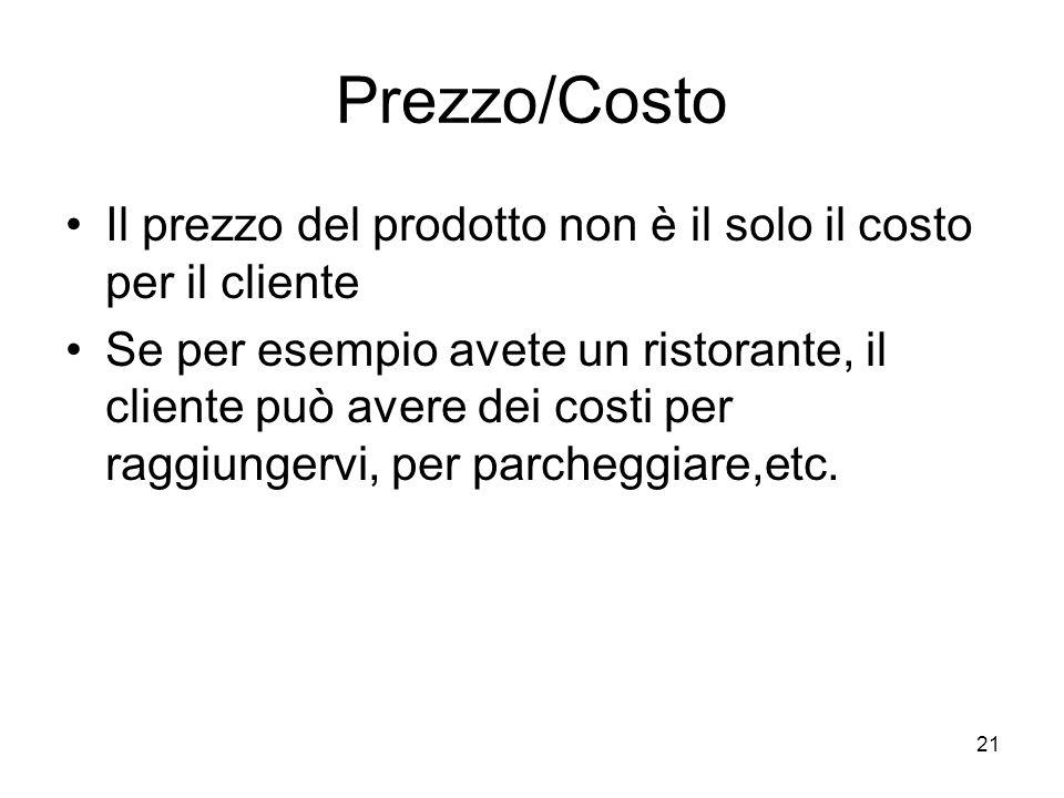Prezzo/Costo Il prezzo del prodotto non è il solo il costo per il cliente.