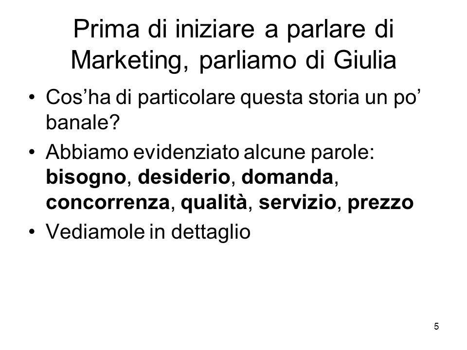 Prima di iniziare a parlare di Marketing, parliamo di Giulia