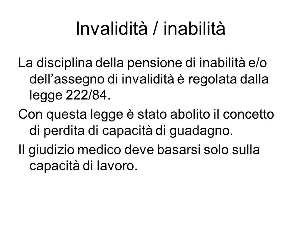 Invalidità / inabilità